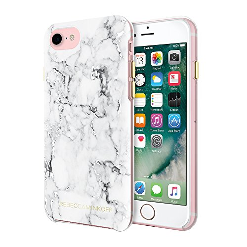 Rebecca Minkoff iPhone 7 Case, Double Up Designer Phone Case [Shock Absorbing] fits Apple iPhone 7 - Marble Print/Silver Foil