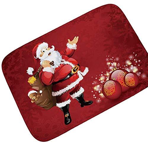 Gnzoe Flanell Teppich Rezitieren Santa Claus Rot Muster Design Teppiche für Wohnzimmer Schlafzimmer Bunt 80x50CM