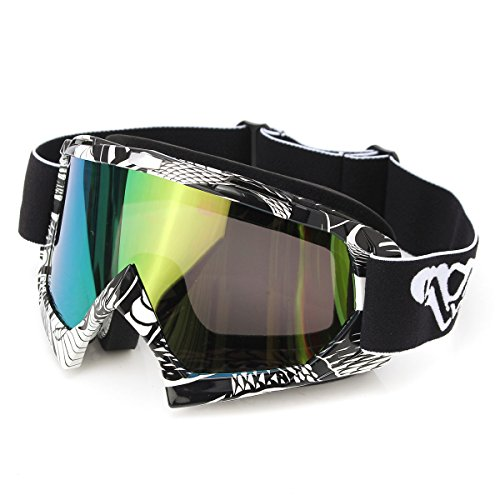 Motorrad Goggle,Motorradschutzbrillen,CAMTOA Scratch Windschutzscheibe Anti-UV-Schutzbrillen  Snowboardbrille Schneebrille Skibrille zusammenklappbar, Schwämme Rahmen, verstellbaren, elastischen Gurtschlupfes & Klettern Wandern Skifahren Radfahren Motorrad ATV Motocross