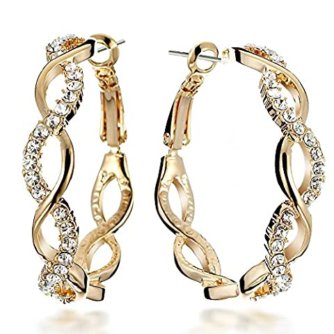Gemini Women's 18K Gold Filled Crystal Big Round Hoop Pierced Earrings Valentine's Day Gifts Gm045Yg 1.5 inches
