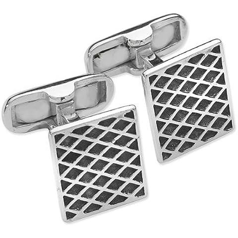Da uomo diagonale/Griglia Griglia Diamante–Gemelli quadrati in argento Sterling 925e smalto nero–Design classico stile Gemelli - Stile Quadrato Gemelli