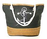 BRANDELIA Strandtasche groß mit Reißverschluss für Freibad oder Strand im Sommerurlaub Damen Shopper Umhängetasche Schultertasche, Grün