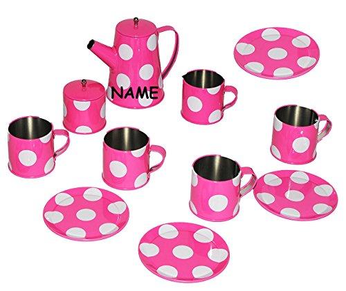 Teeset / Puppengeschirr - Geschirr aus Metall & Blech - incl. Name - Teeservice & Kaffeeservice mit...