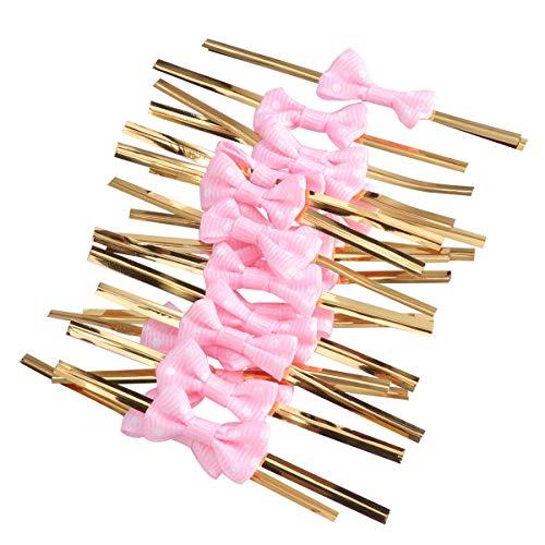 iege Twist Krawatten für Cake Pops Abdichtung Cello Taschen Lollipop Geschenke Packgae (Rosa) ()