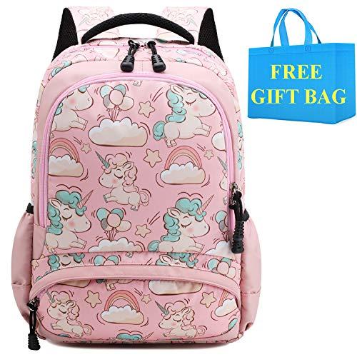 Mochila Escolar Chica Niñas Unicornio Linda Bolso Casual Backpack Mochilas para Niñas Infantil Adolescentes Las Mujeres Mochila de Viaje (Rosa)
