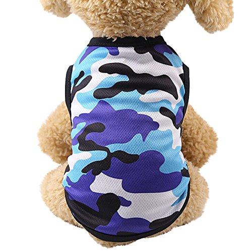 Balock Schuhe Hundebekleidung,Welpen Hund Baumwolle Camouflage Weste, Sommer Baumwolle atmungsaktiv,für Kleinen Hund Teddy,Vollkommen für Das Wandern,Das Joggen (Blau, S)