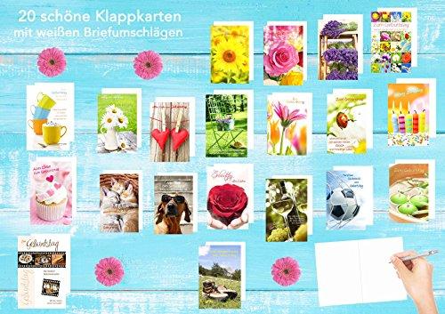 Set 20 Geburtstagskarten Glückwunschkarten zum Geburtstag mit Umschlag. Grusskarte Geburtstagskarte Happy Birthday Mann Frau (Doppelkarten/Klappkarten mit