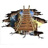 Vitila Kreative Rutschfeste Aufkleber Dekoration Wohnzimmer Schlafzimmer Bad Persönlichkeit 3D Wandaufkleber Cliff Bridge Selbstklebende Poster Pvc Abnehmbare Tapete