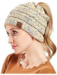 ZiXing Gorros con Coleta Mujer Invierno Gorro Caliente de Punto con Agujero  Sombreros de Invierno Knit Ponytail… b55bb942c95