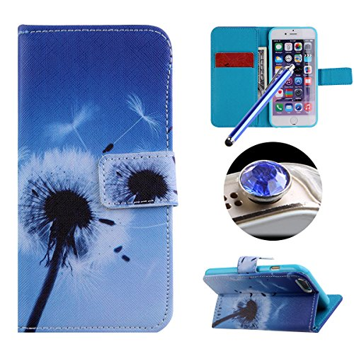 Etche iPhone 6 Plus/6S Plus TPU Schutzhülle, Laser Reflect Blue Light Case für iPhone 6 Plus/6S Plus, Transparent Frame Silikon Handyhülle für iPhone 6 Plus/6S Plus,Premium Slim TPU Gel Soft Back Cove Weiß Löwenzahn Blume
