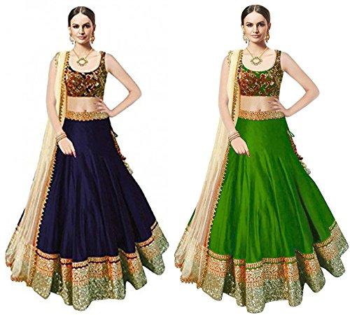 Super DealWomen\'s Nevy Blue & Green Benglory Silk Unstitched Free Size Combo Pack Lehenga Choli (Indian Clothing Ghagra Choli 4061-4064)