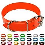 LENNIE BioThane Halsband, Edelstahl-Rollschnalle, 38 mm breit, Größe 45-55 cm, Neon-Orange, Aufdruck möglich
