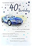 Goldmark Alter 40Stecker Geburtstag Karte–Blau Sport Auto & Little Stars 22,9x 15,9cm