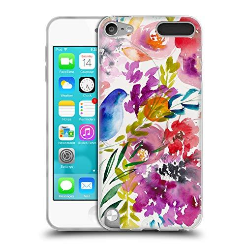 Head Case Designs Offizielle Mai Autumn Blauer Vogel Blumiger Garten Soft Gel Huelle kompatibel mit Apple iPod Touch 5G 5th Gen