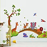 Kibi Grünen Baum Niedlichen Löwen Kaninchen Giraffe Elefanten Überqueren Der Brücke Wandsticker Tiere Wandaufkleber Babyzimmer Entfernbare Wandtattoo Tiere Kinderzimmer Wandbilder 86(W) x 135 (H) CM