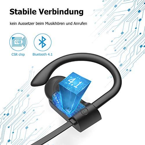 LETSCOM Bluetooth Kopfhörer in Ear IPX7 wasserdicht kabellos Sport-Kopfhörer Bluetooth 4.1 HiFi-Bass Stereo schweißfest mit Mikrofon Geräuschunterdrückung Headset für Laufen Fitnessstudio MEHRWEG Bild 3*