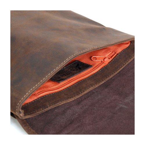 Shalimar Outback Wear - Sac bandouillère plat - Cuir de buffle Marron foncé
