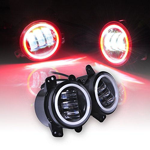Preisvergleich Produktbild Omotor Jeep Wrangler 60W 4 Inch Round Cree Led Fog Light Red Halo Ring Angel Eyes & White Lamp DRL Bulb Angle Eyes for Jeep Wrangler JK LJ TJ Headlight Trackor Boat Driving Lamp Accessories