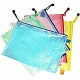 Oubang A3 / A4 / A5 / A6 / B4 / B5 / B6 Bolsa de papel transparente de la rejilla del PVC del bolso de los efectos de escritorio de la cremallera (color al azar)