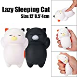 Clearance! Cute Lazy Sleeping Cat Scented Squishy Toys, HOMEBABY 12cm Cartoon Stress Relief Toys Squishy Jumbo Cream Scented Squishy Slow Rising Squeeze Strap Kids Gift Fun Soft Toy Jumbo Collection Easter Gift (**UK Children**, White)