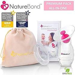 Tire-lait manuel en silicone NatureBond pour allaitement / Bouchon de tire-lait en BONUS, couvercle, pochette, sac sous vide hermétique dans une boîte cadeau rigide