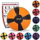 Medizinball Gewichtsball von POWRX 1 - 10 kg | versch. Farben (2 kg / Orange)