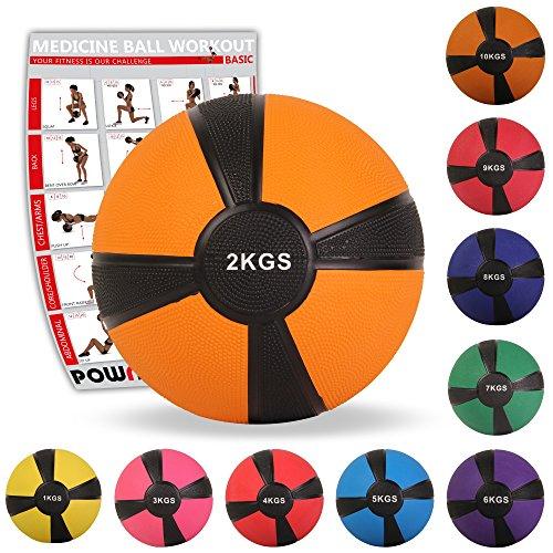 POWRX - Balón Medicinal 2 kg + PDF Workout Naranja