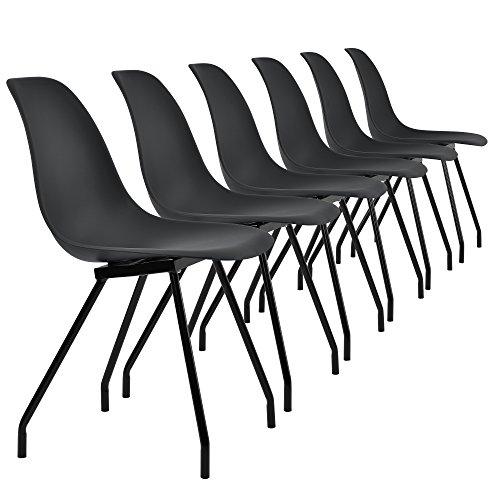 [en.CASA] 6 chaises de Design du Plastique - Pieds stabils en Acier - Noir