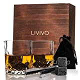 Fineway Stunning 8 Whisky Stones and 2 Whisky Glasses & Tongs Gift Set