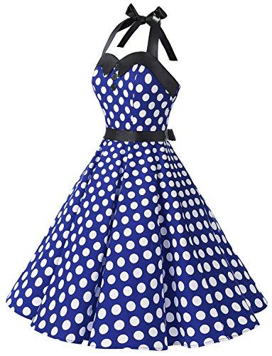 Dressystar Vintage Tupfen Retro Cocktail Abschlussball Kleider 50er 60er Rockabilly Neckholder Royalblau Weiß Dot