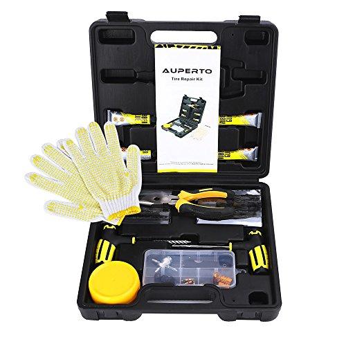 Reifen Reparatur Set,65tlg Flicken Satz Auto Reifen Pannenset Flickzeug Werkzeug Koffer für Motorrad, ATV, Jeep, LKW, Traktor