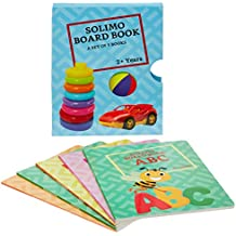 Amazon Brand - Solimo Long Board Book, Set of 5 (Alphabets, Fruits, Numbers, Vegetables, Words)