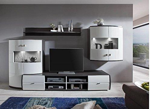 Wohnwand 'Circle 2' Hochglanz lackiert Weiß Grau Vormontiert