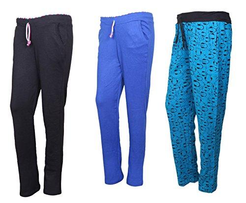 IndiWeaves Cotton Lower/Track Pants/Pyjama for Women(Pack of 3)_Black/Royal Blue/Firozi_Size-XX-Large_73200-161724-IW-P3-XXL