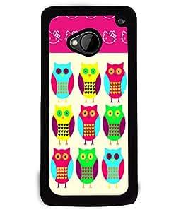 PRINTVISA Owles Premium Metallic Insert Back Case Cover for HTC One M7 - D6030