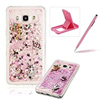 For Samsung Galaxy J510 2016 Liquid Case,For Samsung Galaxy J510 2016 TPU Silicone Clear Case,Herzzer Creative Luxury 3D Design Liquid Quicksand Floating Flowing Bling Glitter Sparkle Stars Love Hearts Triangle Sequin Anti Scratch Bumper Soft Rubber Back Cover For Samsung Galaxy J510 2016 + 1 x Free