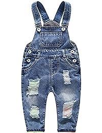 Odziezet Bebé Pantalones de Peto Largo Mono Vaquera Overalls Roto Jeans Pants para Niño Niña Primavera Otoño Invierno 3 Meses-3 años