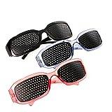3er SET Schwarz Blau Rot Rasterbrille/Lochbrille für Augentraining zur Entspannung, Gitterbrille mit faltbaren Bügeln Romens Ltd (Set Schwarz Blau Rot)