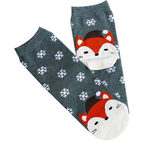 FIRSS Damen Socken Entwurf Weihnachtssocken Lustige Geschenk für Geburtstag Rutschfeste Griff Boden Stoppersocken Niedliche Cartoon Socks (Knie-hohe Socken Mit Griffen)