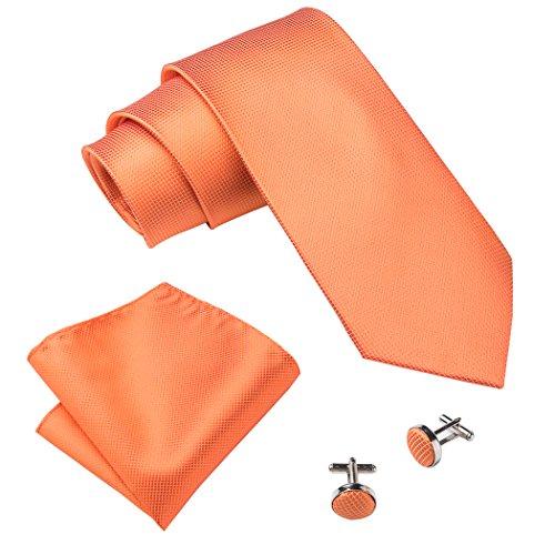 Hi-Tie Orange Seide Krawatten Normallack Krawatte Krawatten
