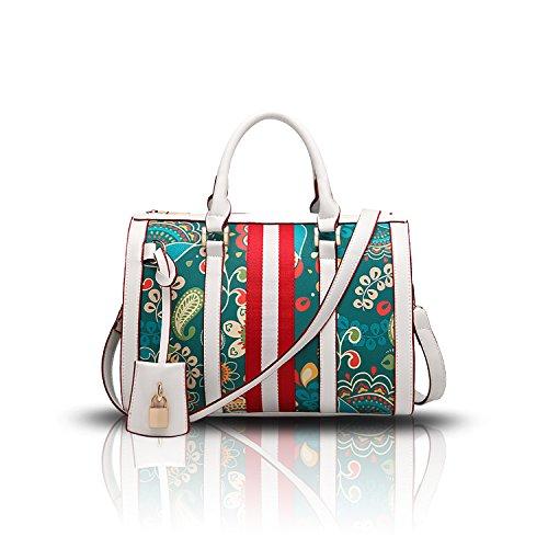 Sunas Sacchetto del messaggero di stampa della borsa superiore della borsa della spalla di modo della borsa delle donne di estate bianca