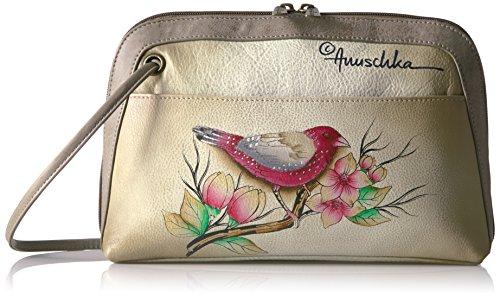 Anuschka handbemalte Ledertasche, Schultertasche für Damen,Taschen Geschenk für Frauen, Kleiner Rundum Reißverschluss Umhängetasche mit Fach (Vögel 349 SMT)