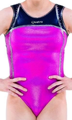Quatro Gymnastikanzug für Mädchen, Curlicue SS, Magenta Holo, Kindergröße L