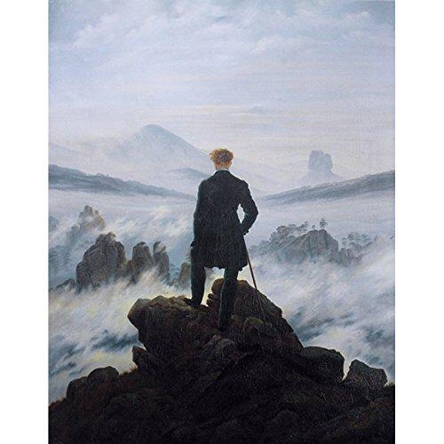 Niik Quadro Viandante sul Mare di Nebbia di Caspar David Friedrich, 90 x 70 cm, Falso d'Autore