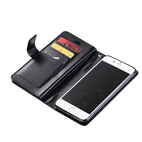EKINHUI Case Cover Luxus Fashion Wallet Beutel Case 9 Card Slots PU Ledertasche Cover mit Reißverschluss & Lanyard & Kickstand für iPhone 7 Plus ( Color : Purple ) Black