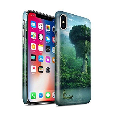 Offiziell Elena Dudina Hülle / Glanz Snap-On Case für Apple iPhone X/10 / Grünes Feld Muster / Fantasie Landschaft Kollektion Friedlicher Ort