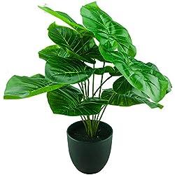 Elefantenohr Topflanze Alocasia im Stylischen Topf Baddeko Tischdeko Büropflanze 45cm Kunstblume im Blumentopf