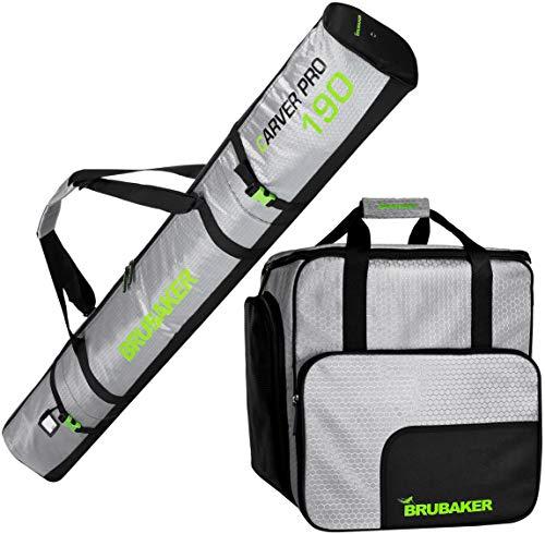 Brubaker Kombi Set CarverTec Pro - Skisack und Skischuhtasche für 1 Paar Ski + Stöcke + Schuhe + Helm - Silber Grün - 190 cm -