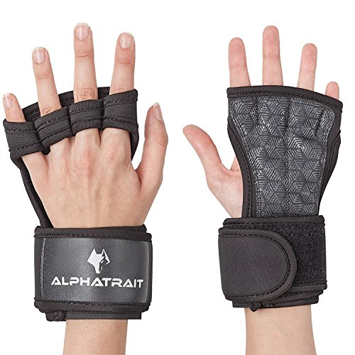 ALPHATRAIT - WOD Grips with Adjustable Palm Protector Length, Wrist Support - Best Fitness Workout Gloves for Crossfit, Weightlifting, Kettlebells - Protect Your Hands from Calluses - for Men & Women