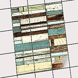creatisto Dekofolie Fliesen aufkleben | Muster-Fliesenfolie Badezimmerfliesen Küchengestaltung | 20x25 cm Design Motiv Schiffsbruch - 9 Stück